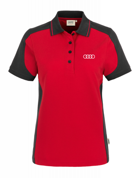 Women Polo, Contrast, red-anthracite