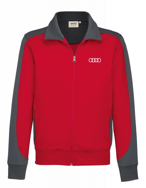 Men´s Sweatjacket Contrast, red-anthracite