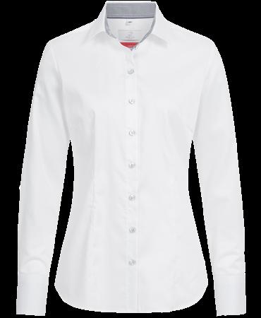 Bluse, Premium, regular, LA, weiß/grau