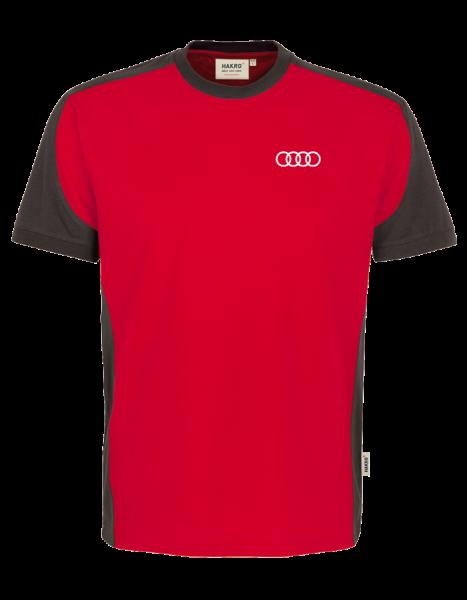 Herren T-Shirt Contrast, rot-anthrazit