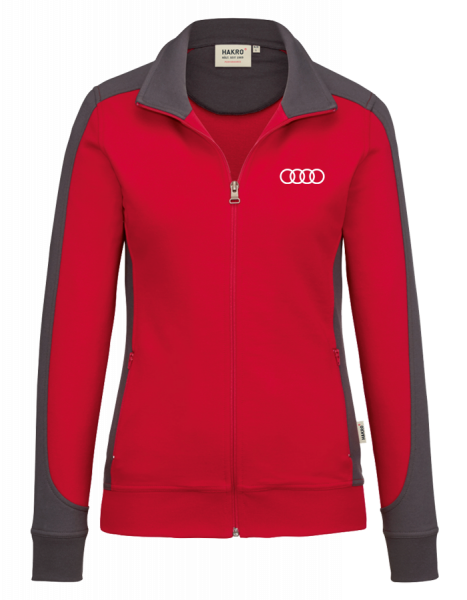 Women Sweatjacket Contrast, red-anthracite