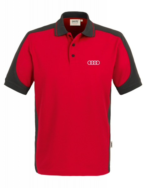 Men´s Polo, Contrast, red-anthracite
