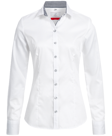 Women´s blouse, premium, slimfit, long sleeve, white/grey
