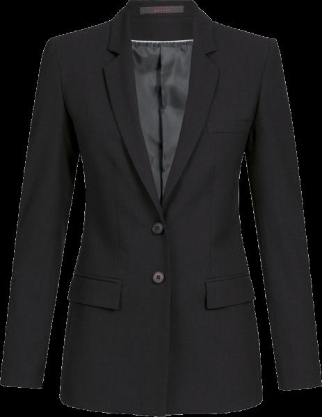 Damen Lang-Blazer, Premium, regular, schwarz