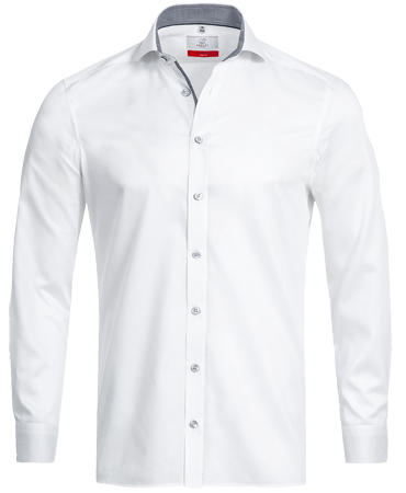 Men´s Shirt, long-sleeve, Premim; slim fit, white-grey