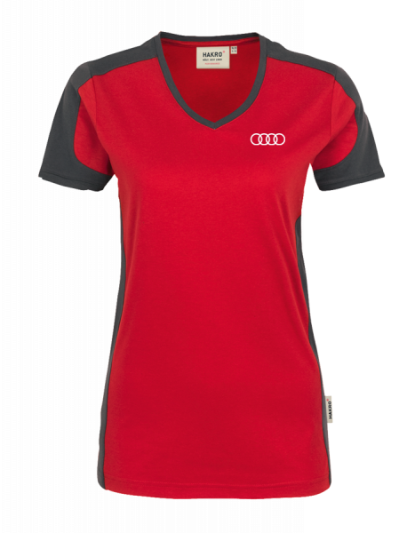 Women V-Shirt, Contrast, red-anthracite